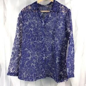 Chicos Sheer Blouse sz 2 Blue Floral Burnout L